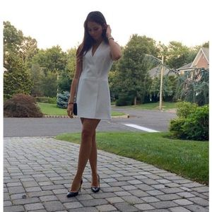 White BCBG tuxedo dress